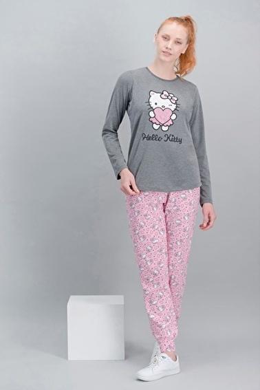 Hello Kitty Hello Kitty Lisanslı Koyu Grimelanj Kadın Pijama Takım Gri
